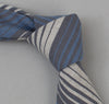 The Hill-Side 294 - TH-S Mills Selvedge Waterfall Stripe Chambray Necktie, Light Indigo / Grey