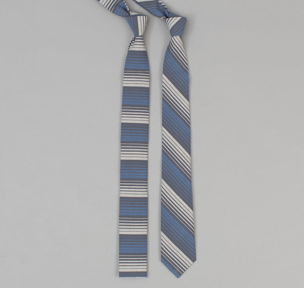 The Hill-Side - 294 - TH-S Mills Selvedge Waterfall Stripe Chambray Necktie, Light Indigo / Grey - ST1-294 - image 2