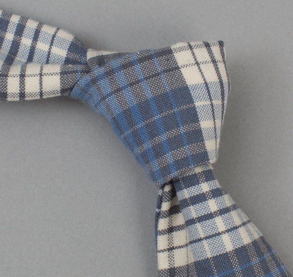 The Hill-Side TH-S Mills Waterfall Plaid Tie, Light Indigo / Grey