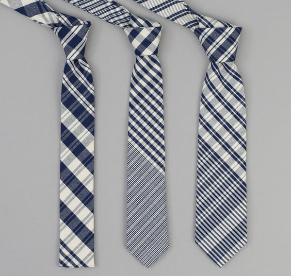 The Hill-Side - 321 - Non-Repeating Check Oxford Necktie, Indigo / White - PT1-321 - image 2