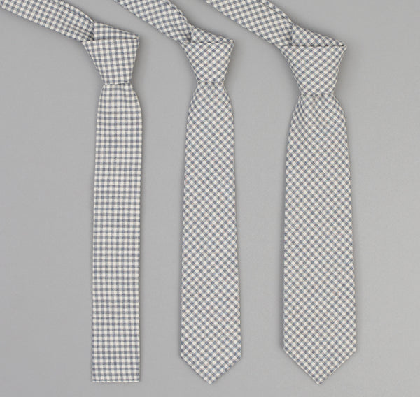 The Hill-Side - 329 - Selvedge Covert Gingham Chambray Necktie, Indigo / White - PT1-329 - image 2