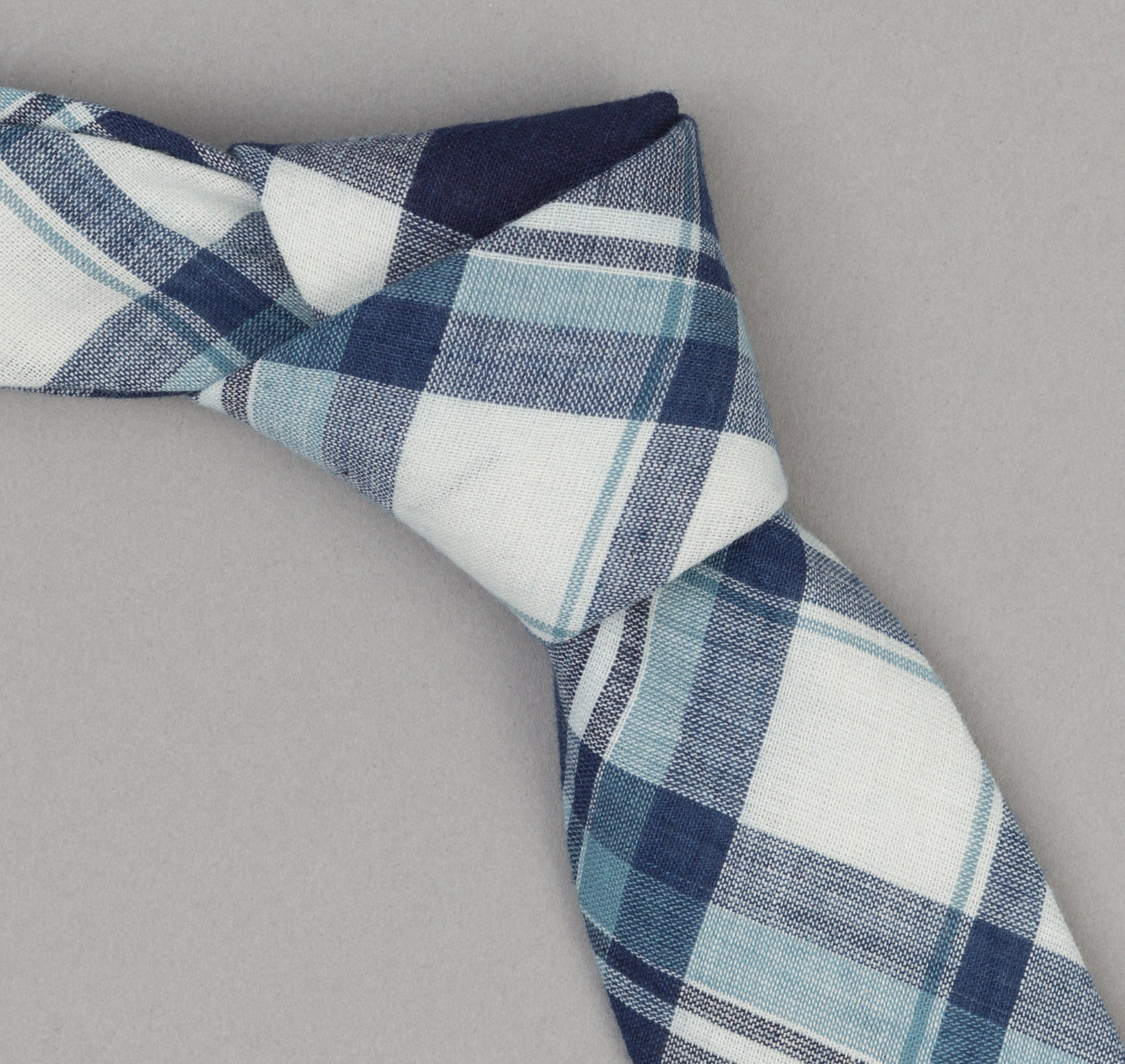 The Hill-Side 333 - Selvedge Indigo Madras Large Check Necktie, Natural Base
