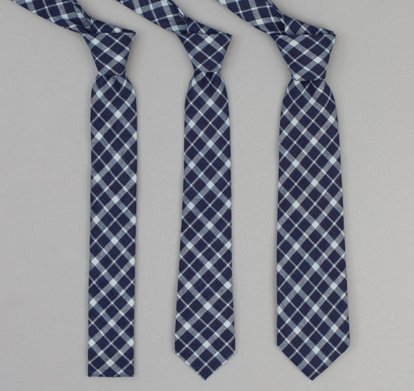 The Hill-Side - 338 - Selvedge Indigo Madras Classic Plaid Necktie, Indigo / Natural - PT1-338 - image 2