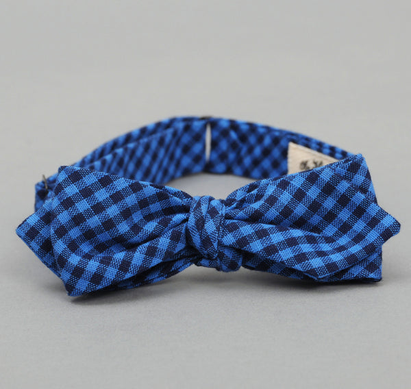 The Hill-Side - BTS-085 - Overprinted Gingham Check Bow Tie, Indigo / White / Bright Blue - image 2