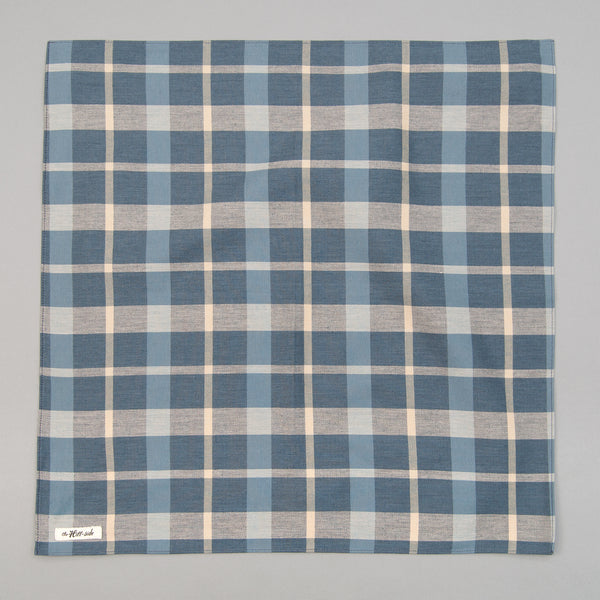 The Hill-Side - Bandana, Sulphur-Dyed Flannel Check, Slate Blue - BA1-376 - image 1