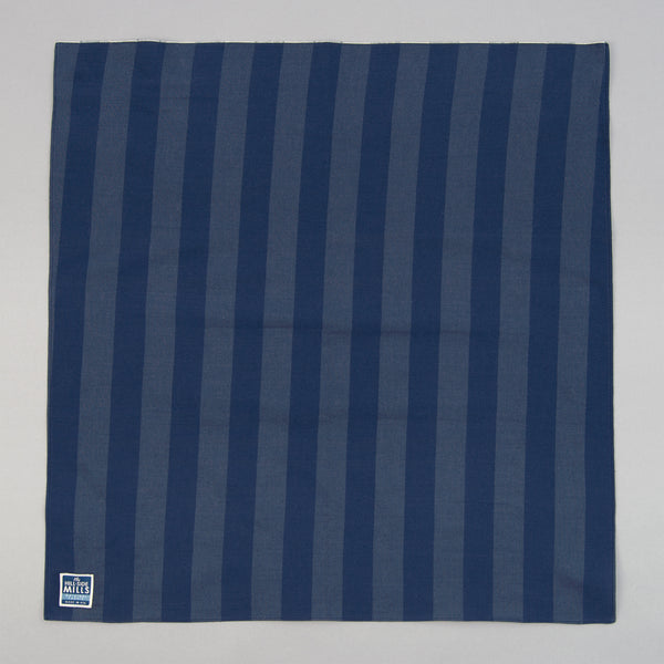 The Hill-Side - Bandana, TH-S Mills Navy Warp Border Stripe, Navy & Slate Blue - BA1-366 - image 1