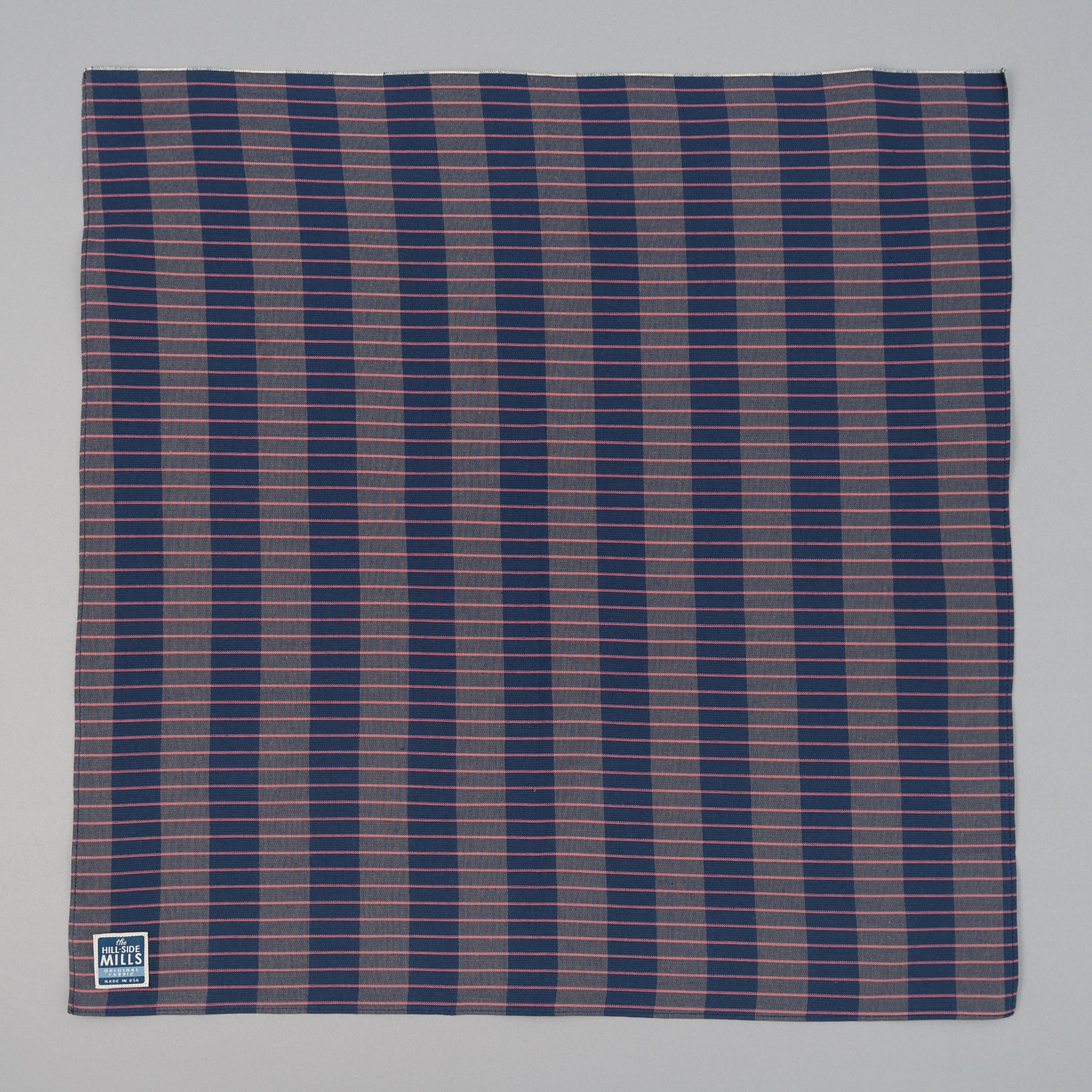 The Hill-Side - Bandana, TH-S Mills Navy Warp Large Grid Check, Beige & Coral - BA1-371 - image 1