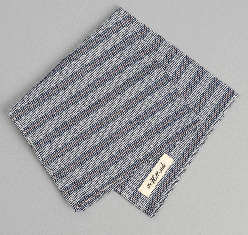 The Hill-Side - Basketweave Twill Stripe Pocket Square, Navy - PS1-264 - image 1