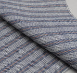 The Hill-Side - Basketweave Twill Stripe Pocket Square, Navy - PS1-264 - image 2