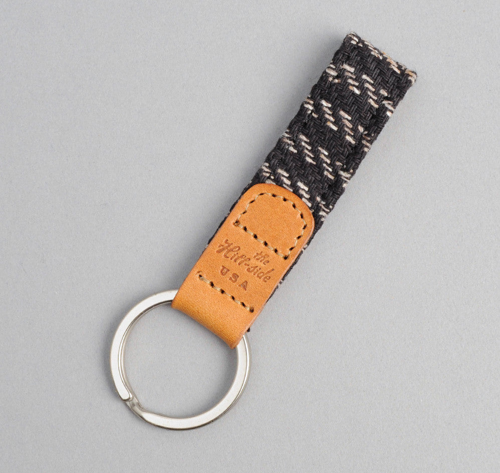 The Hill-Side Beach Cloth Stripe Key Fob, Black / Beige
