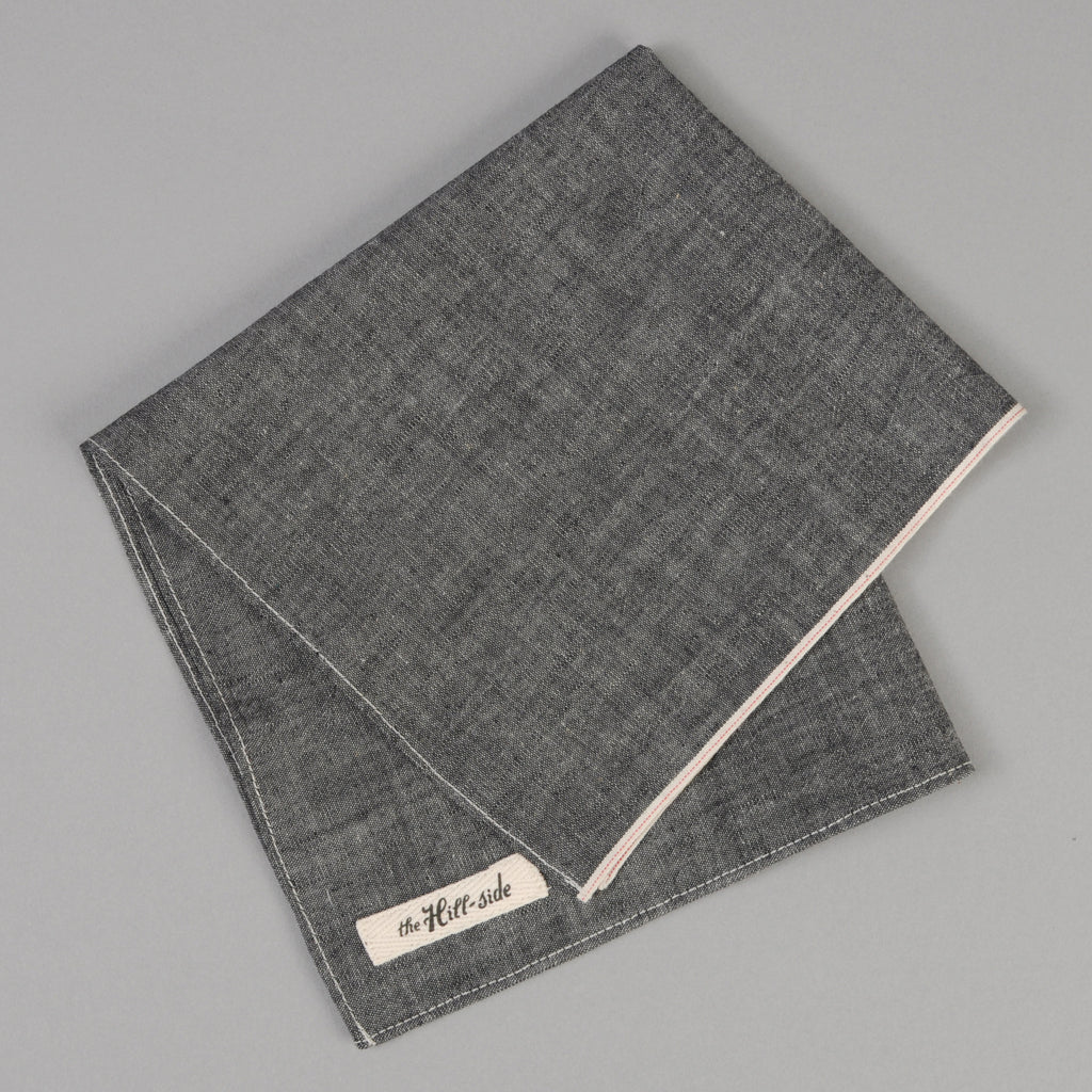 The Hill-Side - Black Chambray Pocket Square - PS1-002 - image 1