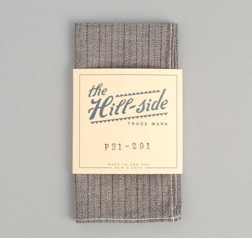 The Hill-Side Black & Tan Covert Stripe Pocket Square