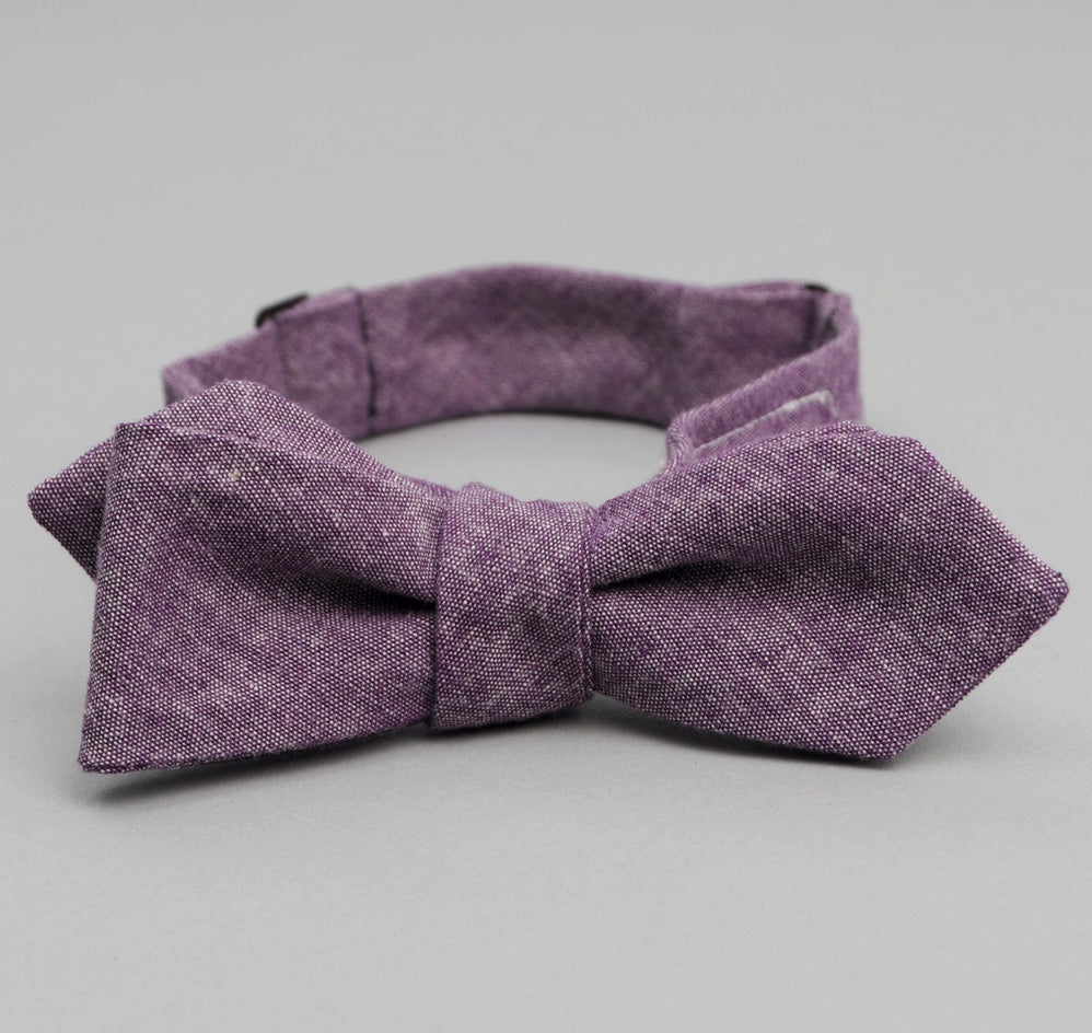 The Hill-Side Bow Tie, Selvedge Chambray, Purple