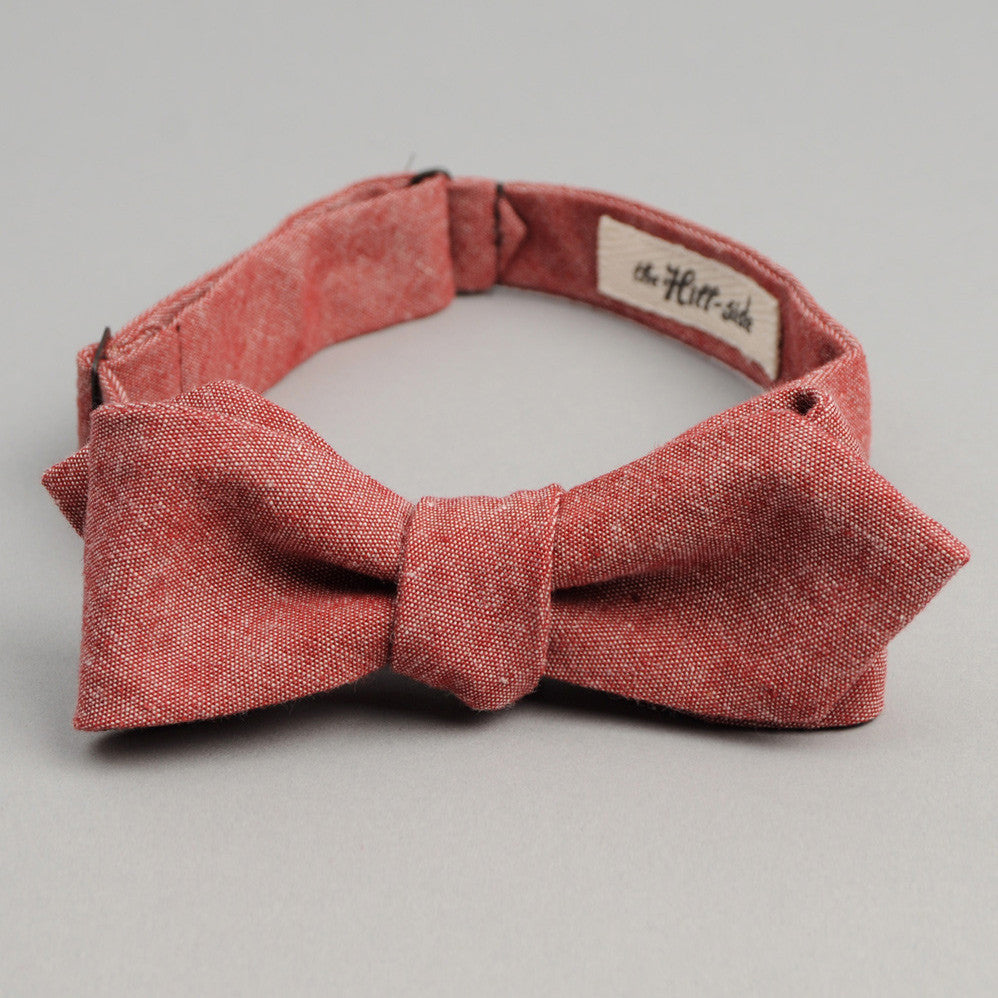 The Hill-Side - Bow Tie, Selvedge Chambray, Red - BT1-003 - image 1