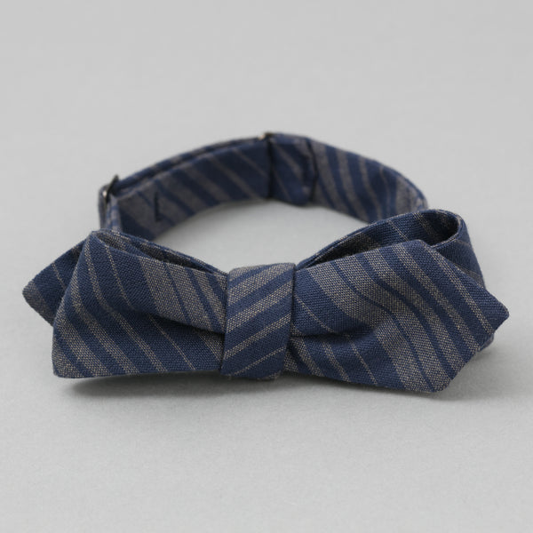 The Hill-Side - Bow Tie, TH-S Mills Navy Warp Waterfall Stripe, Navy & Biege - BT1-364 - image 1