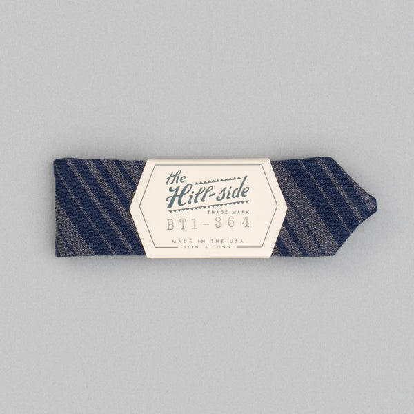 The Hill-Side - Bow Tie, TH-S Mills Navy Warp Waterfall Stripe, Navy & Biege - BT1-364 - image 2