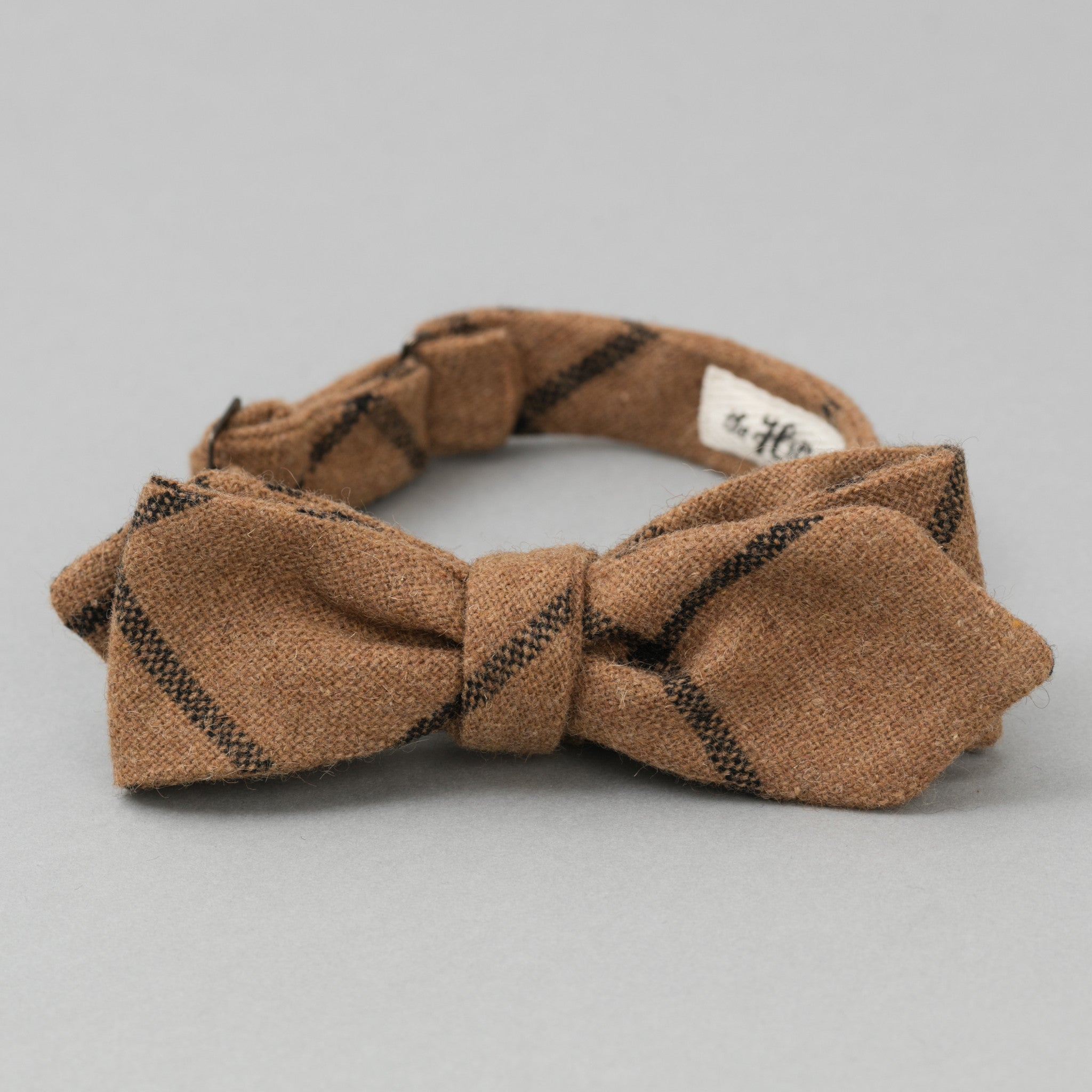 The Hill-Side Wool Windowpane Check Bow Tie, Brown & Black