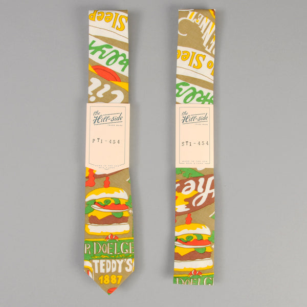 "The Hill-Side ""Brooklyn Burgers"" Print Tie, Tan"