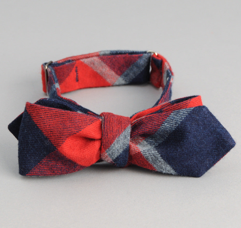 The Hill-Side Brushed Indigo Flannel Bow Tie, Wide Check