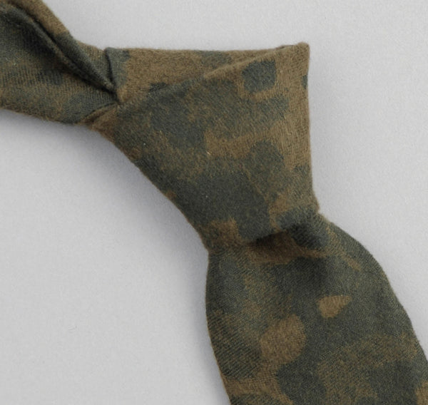 The Hill-Side - Brushed Jacquard Camouflage Necktie, Green - ST1-207 - image 1