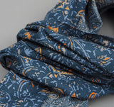 The Hill-Side - COTTON/LINEN VICTORIAN IVY PRINT LARGE SCARF, TEAL - N70-160