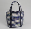 The Hill-Side - COTTON/LINEN ZIG ZAG PRINT HEAVY DUTY TOTE BAG, NAVY - TO2-168