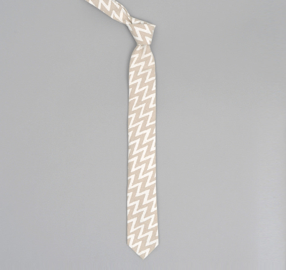 The Hill-Side COTTON/LINEN ZIG ZAG PRINT POINTED TIE, BEIGE