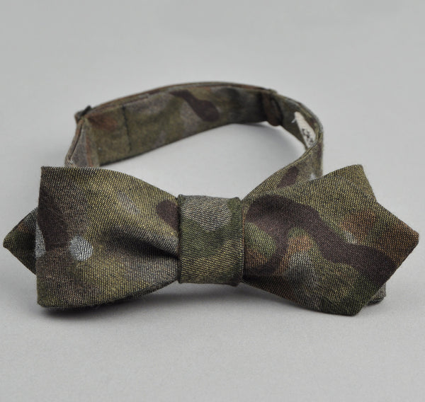 The Hill-Side - Camo Print Reverse Denim Bow Tie - BT1-273 - image 1