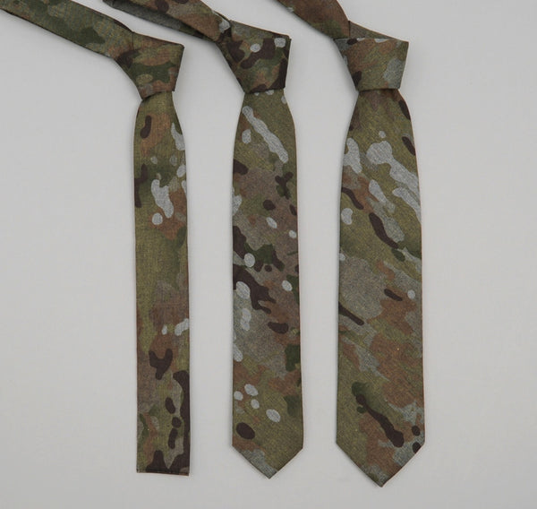 The Hill-Side - Camo Print Reverse Denim Necktie - ST1-273 - image 2