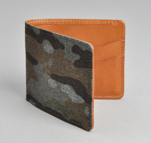 The Hill-Side Camo Print Reverse Denim Wallet