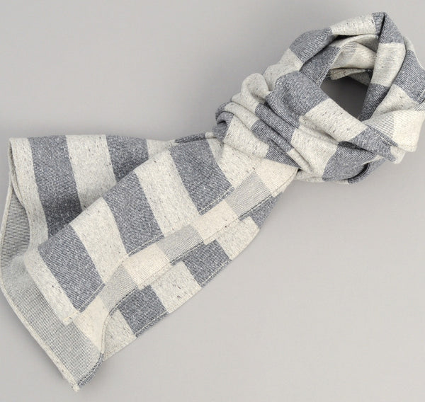 The Hill-Side Cotton Blend Blanket Twill Scarf, Grey / Navy Border Stripe