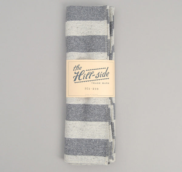 The Hill-Side - Cotton Blend Blanket Twill Scarf, Grey / Navy Border Stripe - SC1-299 - image 2