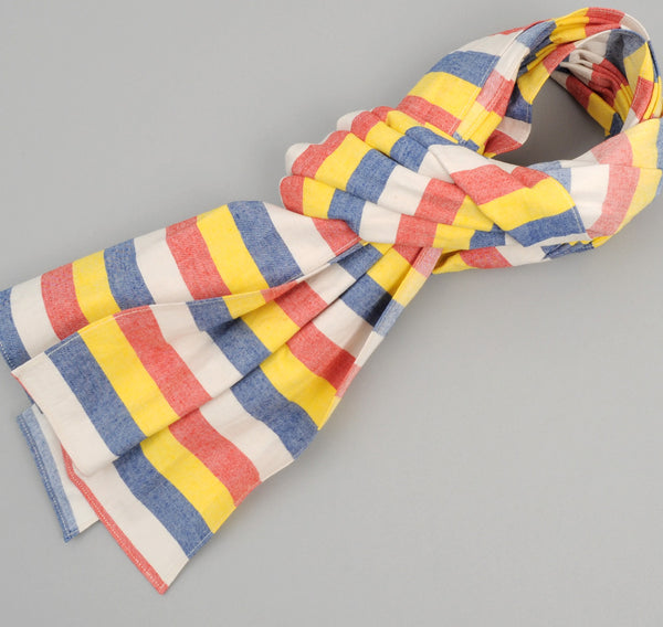 The Hill-Side - Cotton / Linen Awning Stripe Large Scarf, Red / Yellow / Blue / Natural - SC1-268 - image 1