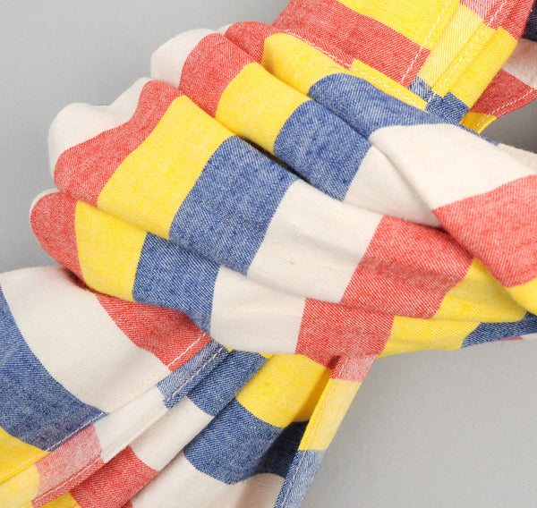 The Hill-Side - Cotton / Linen Awning Stripe Large Scarf, Red / Yellow / Blue / Natural - SC1-268 - image 2