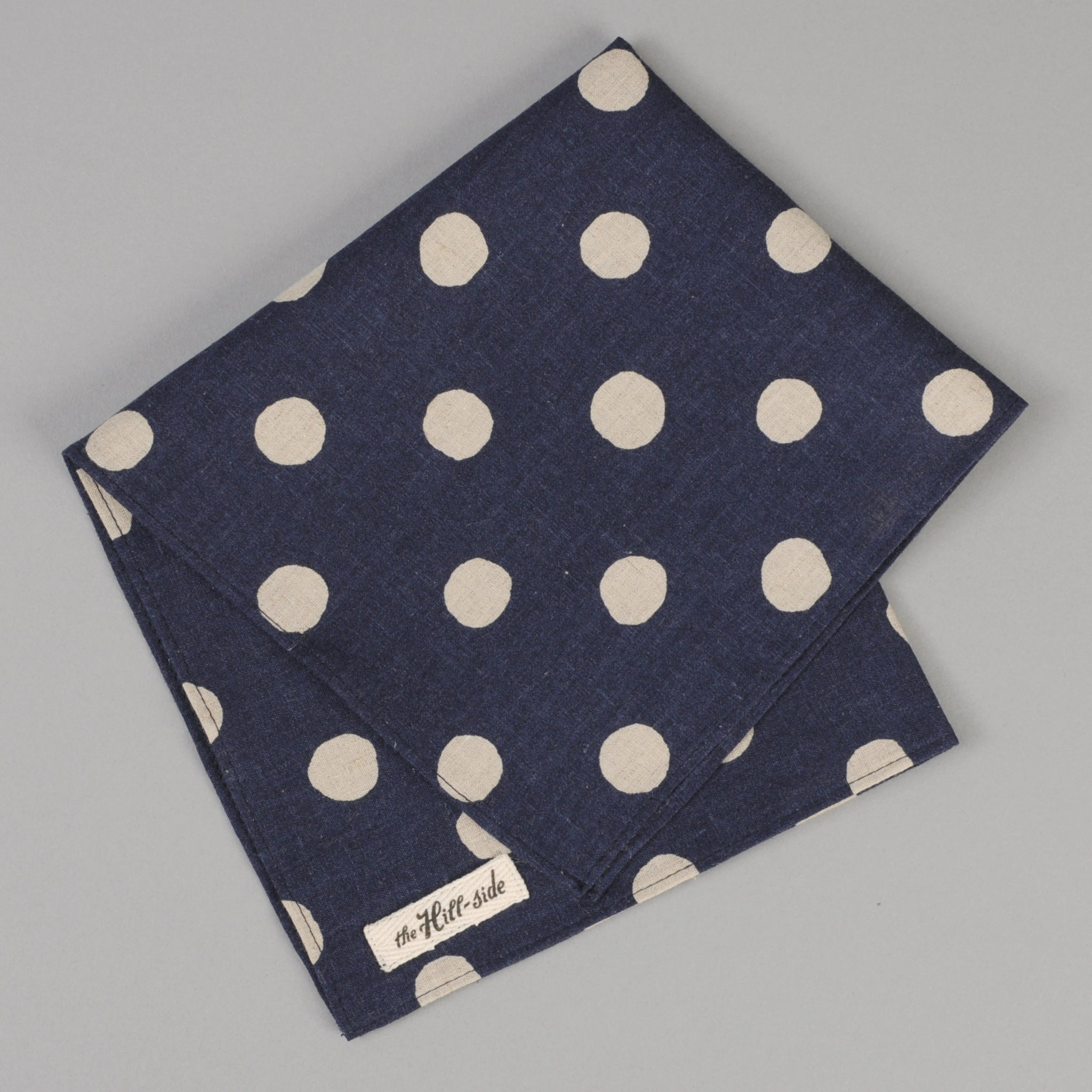 The Hill-Side Cotton/Linen Big Dots Pocket Square, Navy
