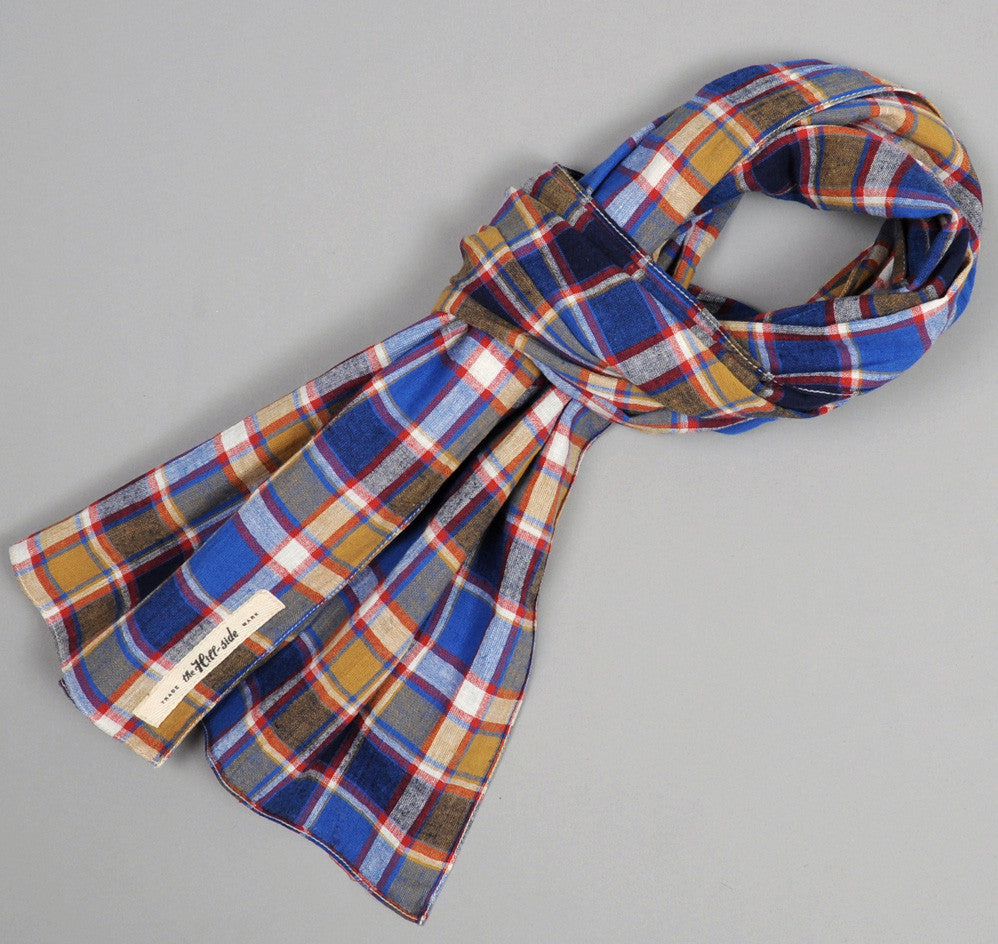 The Hill-Side Cotton / Linen Blend Plaid Large Scarf, Blue / Red