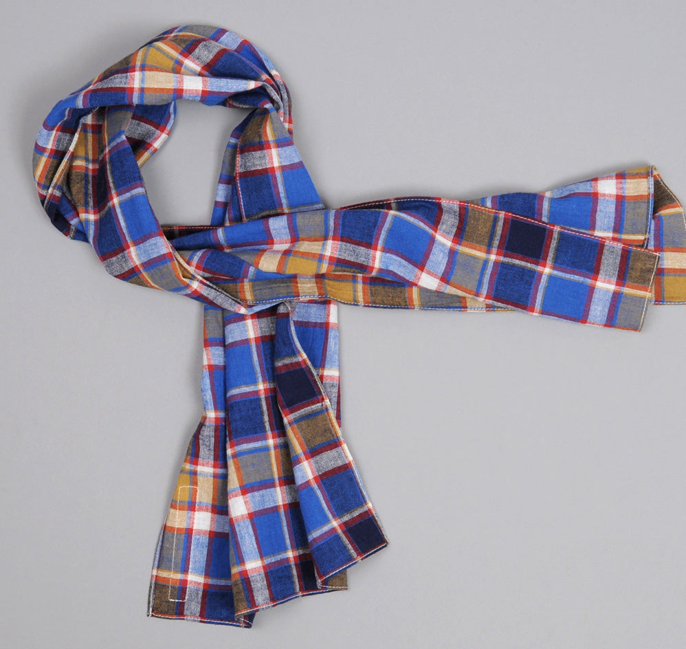 The Hill-Side Cotton / Linen Blend Plaid Small Scarf, Blue / Red