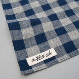 The Hill-Side Cotton/Linen Buffalo Check Pocket Square, Indigo & Grey