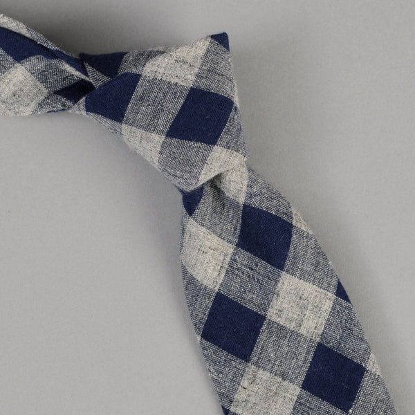 The Hill-Side - Cotton / Linen Buffalo Check Tie, Indigo & Grey - PT1-438 - image 1