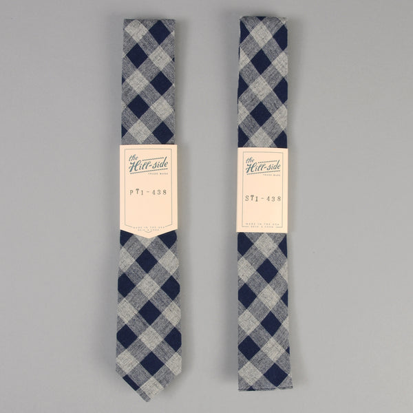 The Hill-Side - Cotton / Linen Buffalo Check Tie, Indigo & Grey - PT1-438 - image 2