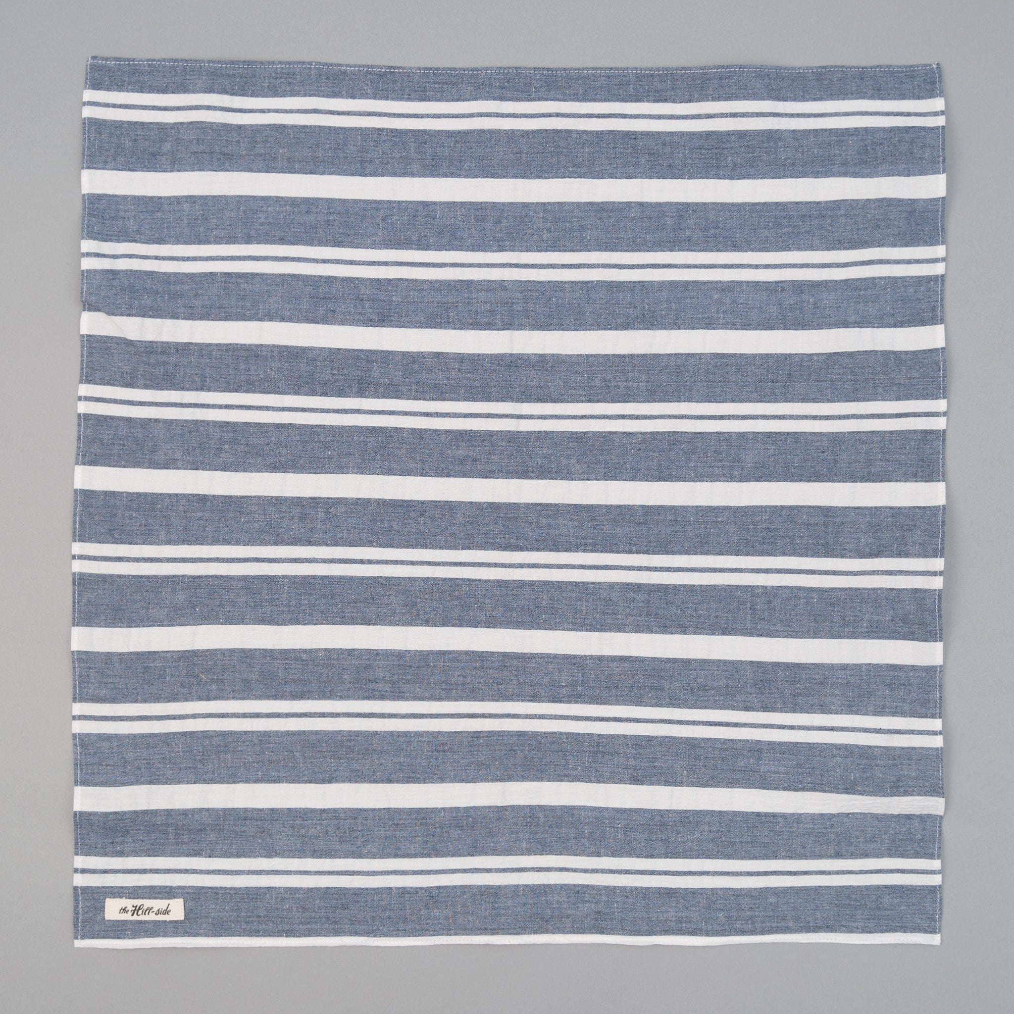 The Hill-Side Cotton/Linen Crepe Stripe Bandana, Blue & White
