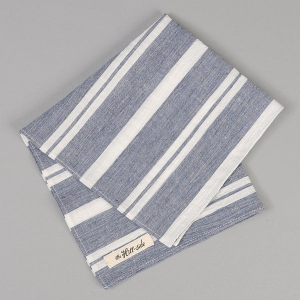 The Hill-Side Cotton/Linen Crepe Stripe Pocket Square, Blue & White