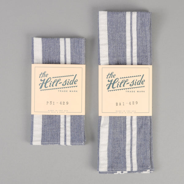 The Hill-Side - Cotton/Linen Crepe Stripe Pocket Square, Blue & White - PS1-429 - image 2