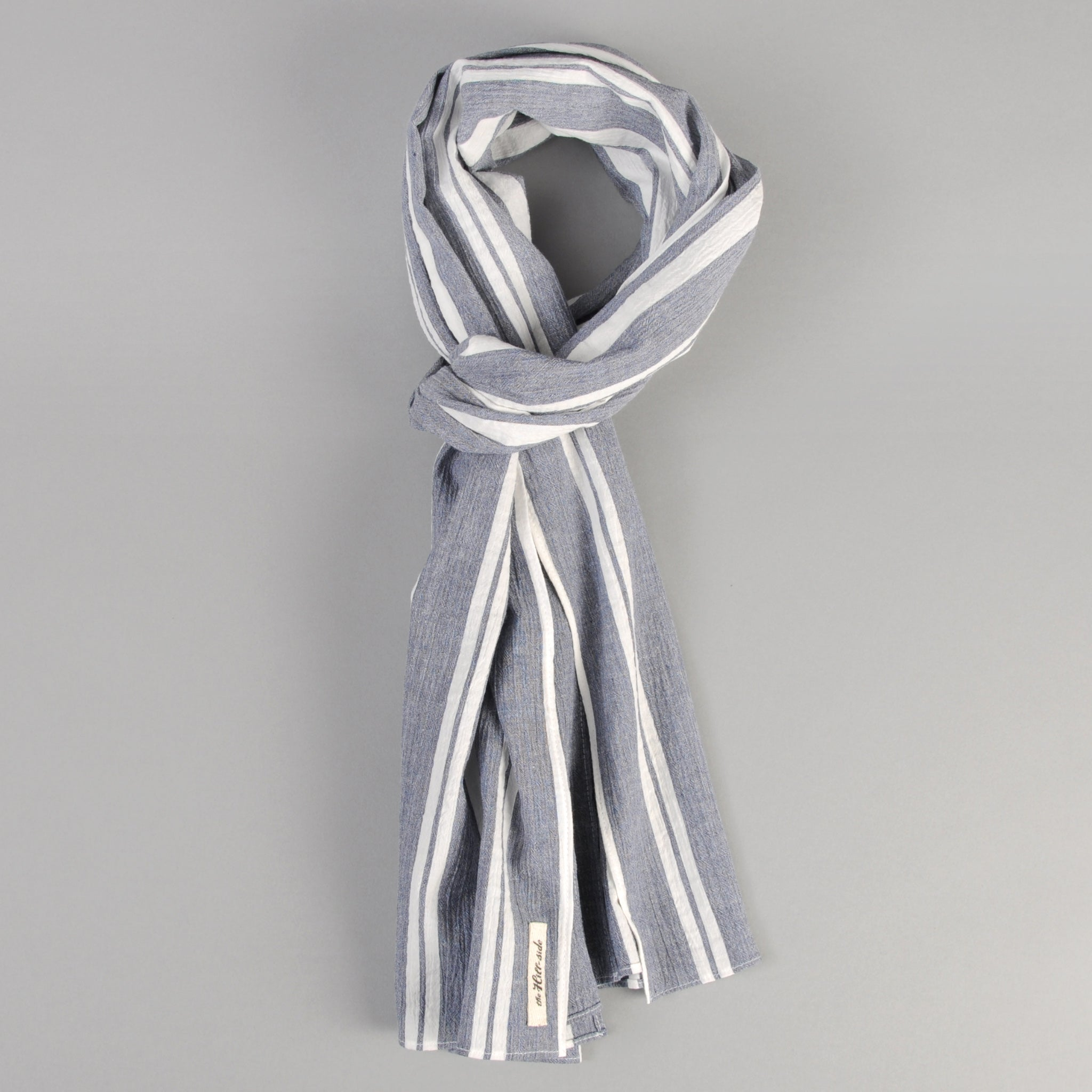 The Hill-Side - Cotton/Linen Crepe Stripe Scarf, Blue & White - SC1-429 - image 1