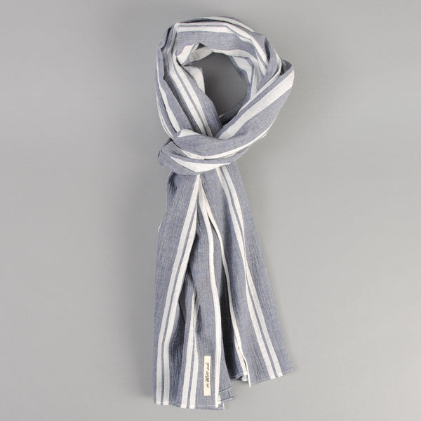 The Hill-Side Cotton/Linen Crepe Stripe Scarf, Blue & White