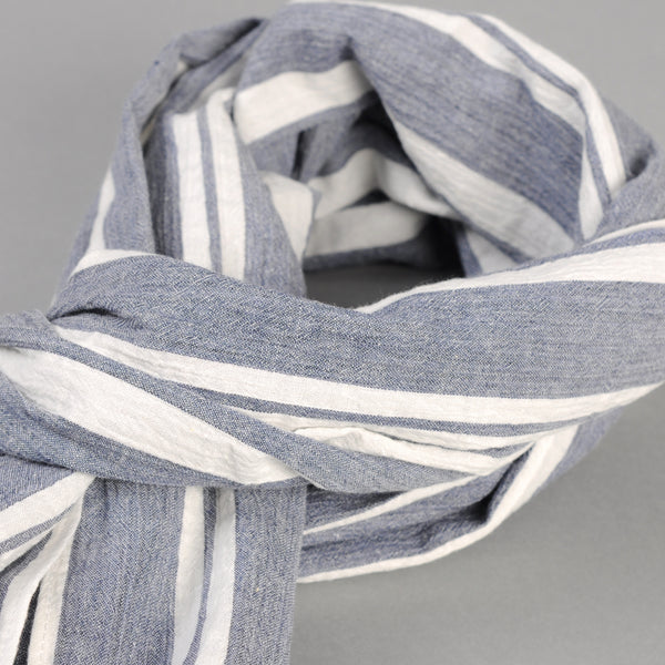 The Hill-Side - Cotton/Linen Crepe Stripe Scarf, Blue & White - SC1-429 - image 2