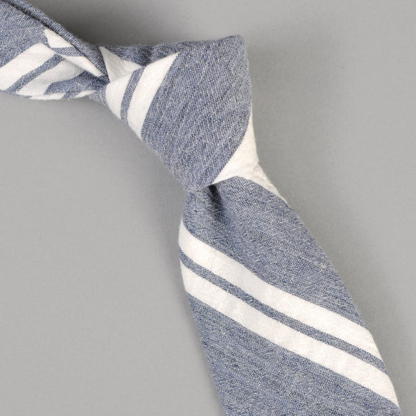 The Hill-Side - Cotton/Linen Crepe Stripe Tie, Blue & White - PT1-429 - image 1