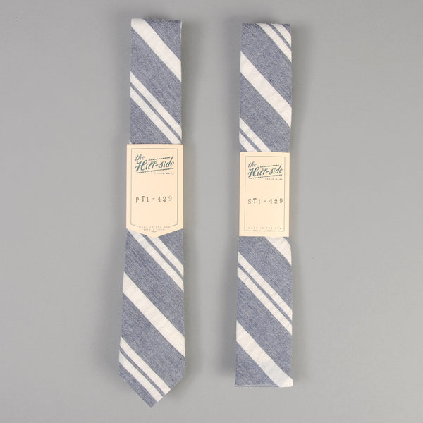 The Hill-Side - Cotton/Linen Crepe Stripe Tie, Blue & White - PT1-429 - image 2