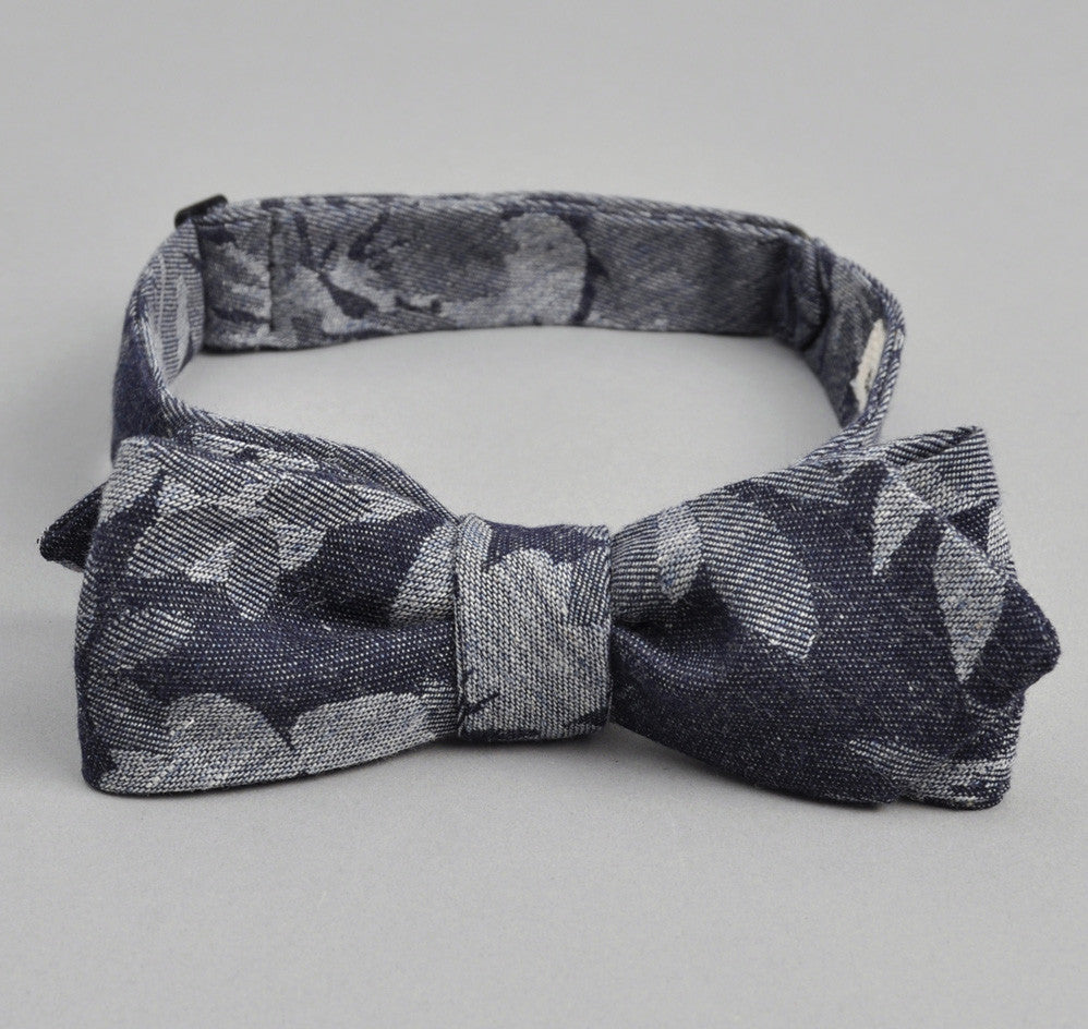 The Hill-Side - Cotton / Linen Jacquard Aloha Bow Tie, Indigo - BT1-269 - image 1