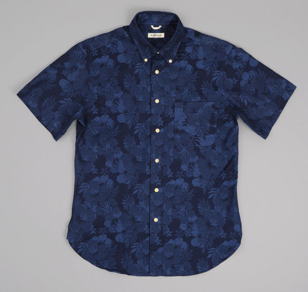 The Hill-Side - Cotton / Linen Jacquard Aloha Short Sleeve Button-Down Shirt, Navy - SH2-270 - image 1